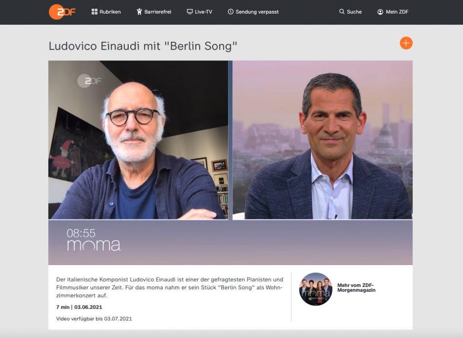 Ludovico Einaudi im ZDF-Morgenmagazin – Screenshot der Sendung vom 03.06.2021